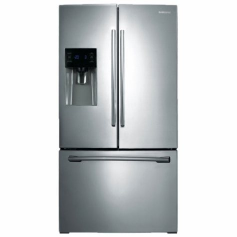 SAMSUNG 25.6 Cu. Ft. 3-Door French Door Refrigerator with External Water and Ice Dispenser, Stainless Steel - RF263BEAESR