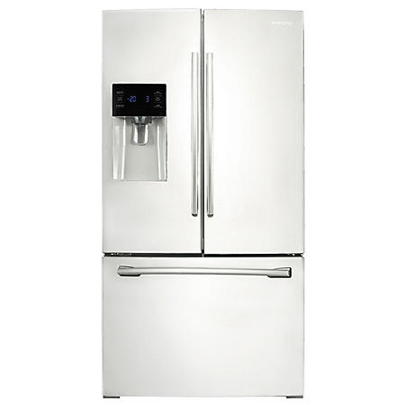 SAMSUNG 25.6 Cu. Ft. 3-Door French Door Refrigerator with External Water and Ice Dispenser, White - RF263BEAEWW