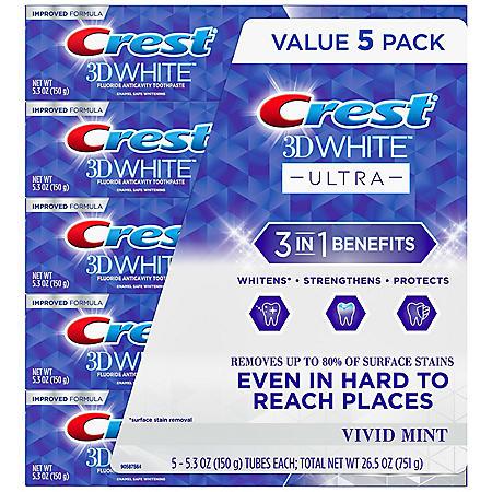 Crest 3D White Ultra Whitening Toothpaste, Vivid Mint, (5.3 oz., 5 pk.)