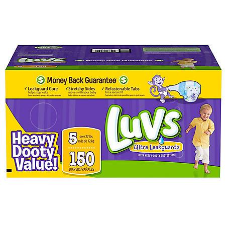 Luvs Ultra Leakguard Diapers, Size 5 (27+ lbs), 150 ct.