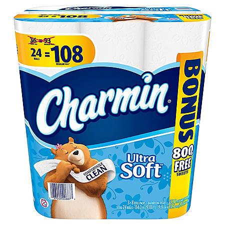 Charmin Ultra Soft Toilet Paper, 24 Bonus Rolls (108 Rolls)