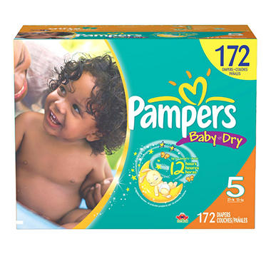 Pampers Baby Dry Diapers, Size 5 (27+ lbs.), 172 ct.