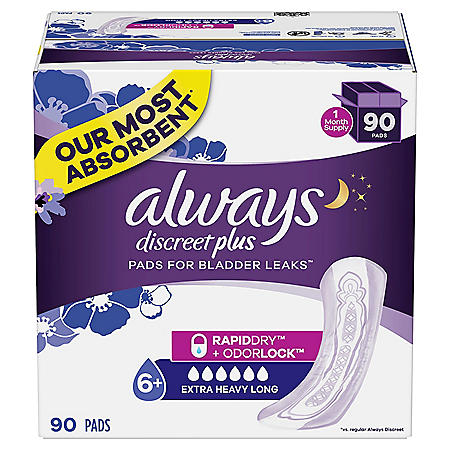 Always Discreet Incontinence Pads, Extra Heavy Absorbency, Long Length (90 ct.)