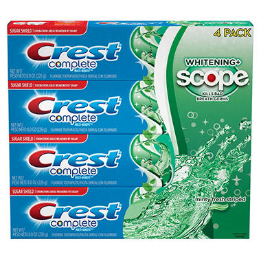 Crest Complete Whitening + Scope Toothpaste (8 oz. each, 4 pk.)