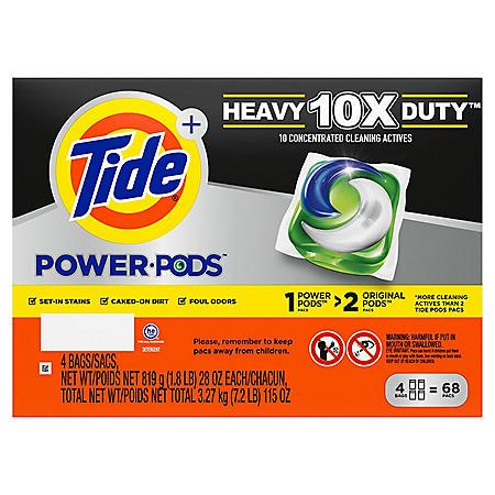 Tide POWER PODS Laundry Detergent Liquid Pacs, 10x Heavy Duty, 68 ct.