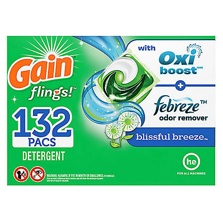 Gain Flings! Liquid Laundry Detergent Pacs, Blissful Breeze, 132 Count