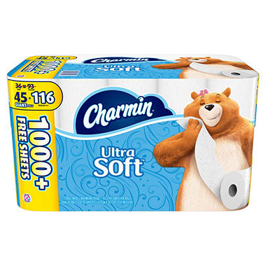 Charmin Ultra Soft Toilet Paper Giant Roll Bonus Pack (45 ct,)