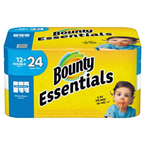 Bounty Essentials Select-A-Size Paper Towels, White (12 Double Rolls = 24 Regular Rolls)