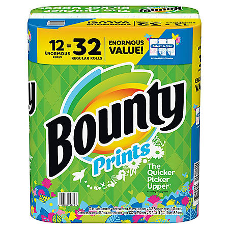 Bounty Select-A-Size Paper Towels, Print, 12 Enormous Rolls = 32 Regular Rolls