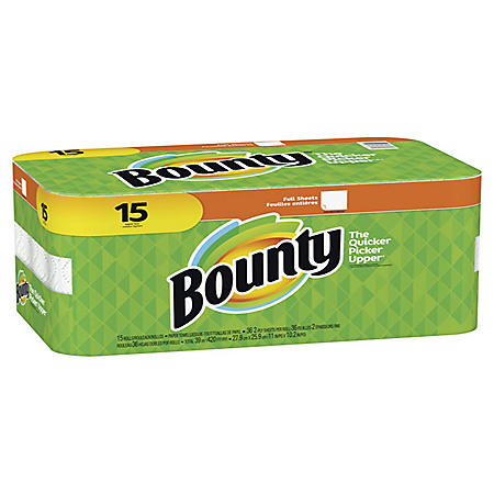 Bounty Full Sheet Paper Towels- 15 Regular Rolls