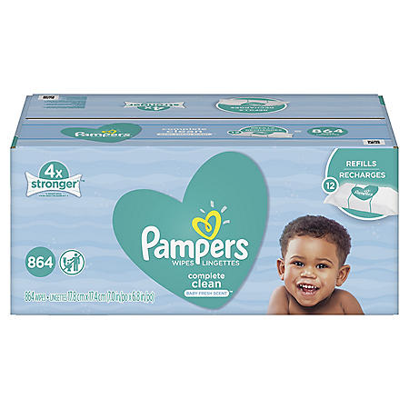 Pampers Complete Clean Baby Wipe Refills, Unscented (864 ct.)