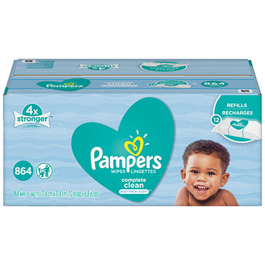 Pampers Complete Clean Baby Wipe Refills, Baby Fresh Scent (864 ct.)
