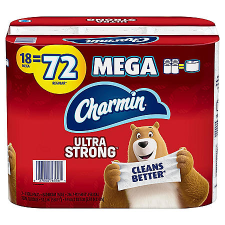 Charmin Ultra Strong Toilet Paper (18 Mega Roll Bath Tissue, 286 Sheets Per Roll)