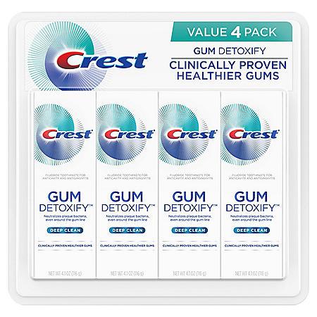 Crest Gum Detoxify Toothpaste, Deep Clean (4.1 oz., 4 pk.)
