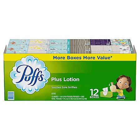 Puffs Plus Lotion Facial Tissue, 12 Family Boxes (116 sheets per box)