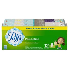 Puffs Plus Lotion Facial Tissue, 12 Family Boxes (116 sheets per box)