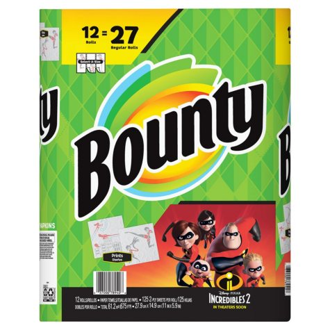 Bounty Paper Towels, Print, 2 Big Rolls (33% More Sheets)
