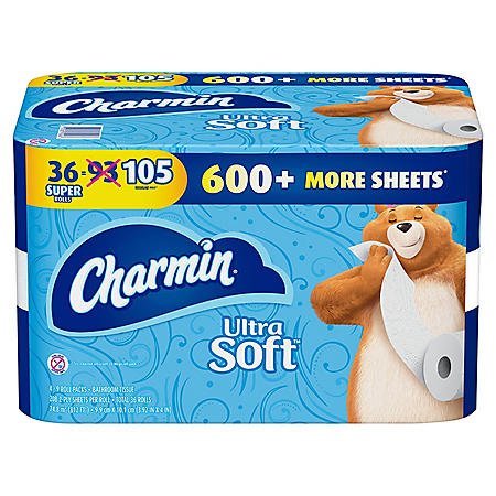 Charmin Ultra Soft Toilet Paper 36 Super Roll, Bath Tissue, 208 sheets per roll