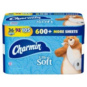 Charmin Ultra Soft Toilet Paper 208 Sheets Per Roll 36 Super Rolls