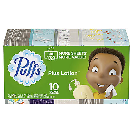 Puffs Plus Lotion Facial Tissues, 10 Family Boxes (132 tissues per box)