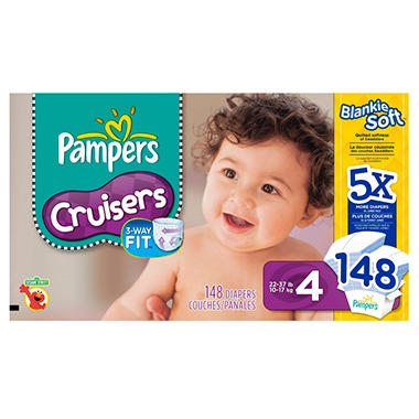 Pampers Cruisers Diapers, Size 4 (22-37 lbs.), 148 ct.