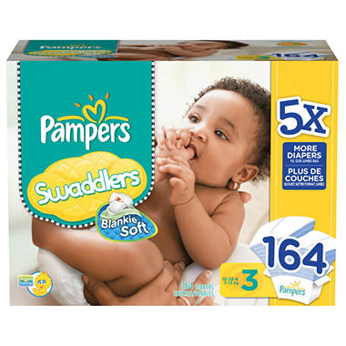 Pampers Swaddlers Diapers, Size 3 (16-28 lbs.), 164 ct.