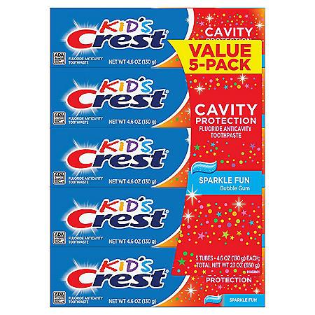 Crest Kid's Toothpaste, Sparkle Fun (4.6 oz., 5 pk.)