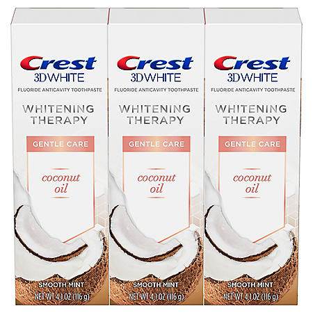 Crest 3D White Whitening Therapy Gentle Care Coconut Oil Fluoride Toothpaste, Smooth Mint (4.1 oz., 3 pk.)