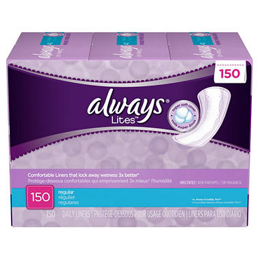 Always Pantiliners Lites, 150 COUNT