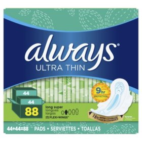 Always Ultra Thin Long Super Pads with Wings (88 ct.)