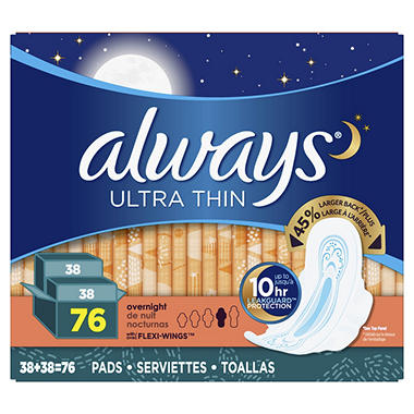 Always Ultra Thin Overnight Pads with Wings (76 ct.) - Sam's Club on