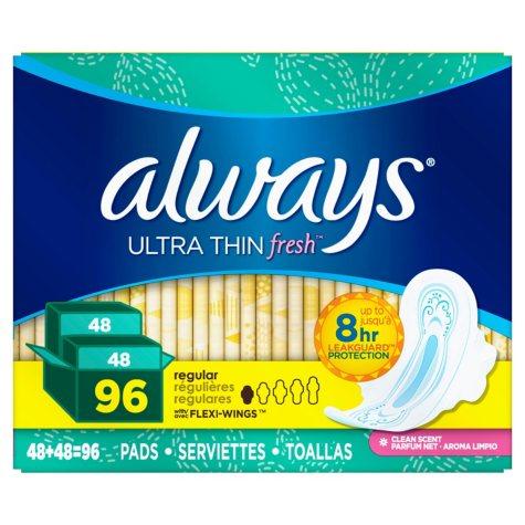 Always Ultra Thin Active Pads, Regular, Fresh Scent (96 ct.)