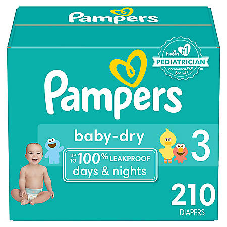 Pampers Baby Dry One-Month Supply Diapers (Choose Your Size)