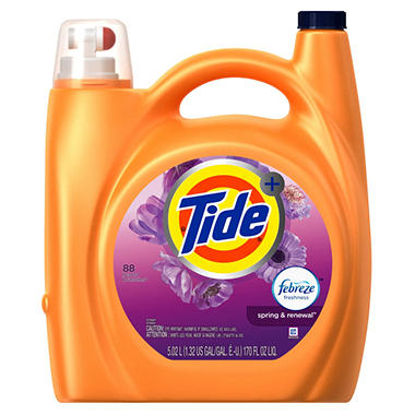 Tide Plus Febreze  Laundry Detergent, Spring & Renewal (170 oz., 88 Loads)