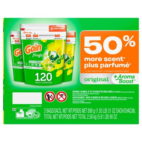 Gain flings! +AromaBoost Laundry Detergent Pacs (Original, 3 bags, 40 loads each, 120 Loads Total)