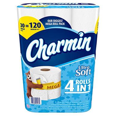 charmin ultra soft toilet paper 30 mega rolls sam 39 s club. Black Bedroom Furniture Sets. Home Design Ideas