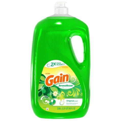 Gain Ultra, AromaBoost Dishwashing Liquid Dish Soap (Original Scent, 90oz)