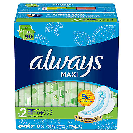 Always Maxi Long Super Size 2 (90 ct.)