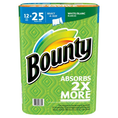 Bounty Select-A-Size Paper Towels, White (131 sheets per roll, 12 rolls)