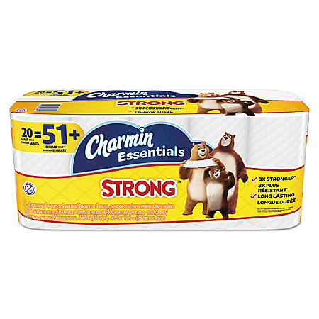 Charmin Essentials Strong Bathroom Tissue, 1-Ply, (300 sheets per roll, 20 rolls per pack) Toilet Paper