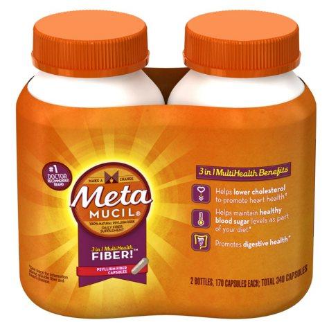 Metamucil Psyllium Fiber Supplement Capsules Twin Pack (2x170 ct.)
