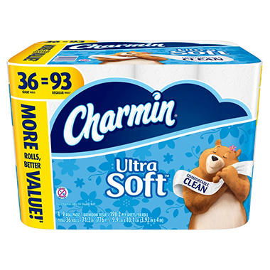 Charmin Ultra Soft Toilet Paper 198 Sheets 36 Ct