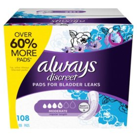 Always Discreet Incontinence Pads for Women, Moderate Absorbency (108 ct.)