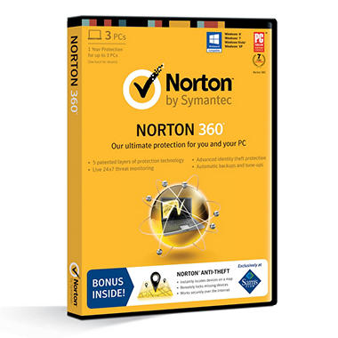 Norton 360 *Bonus Norton Anti-theft Included 1 Year Protection Up to 3 PCs