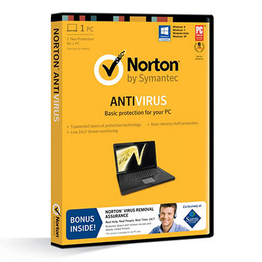 Norton AntiVirus *Bonus Norton Virus Removal Assurance Included 1 Year Protection for 1 PC