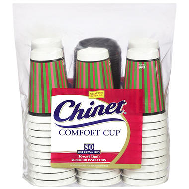 Chinet® Comfort Cup™ & Lids - 16 oz./50 ct.