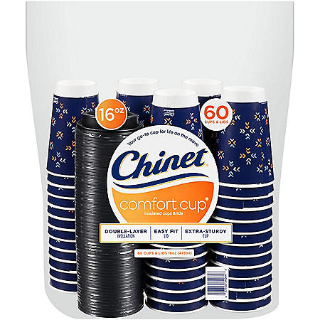 Chinet Comfort Cup 16 oz. Hot Cups & Lids (60 ct.)