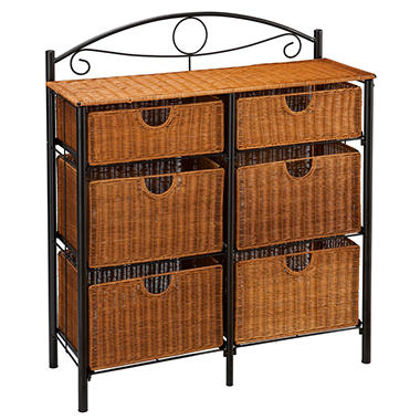 6-Drawer Iron/Wicker Storage Unit