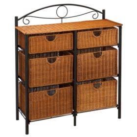 6-Drawer Iron/Wicker Storage Unit
