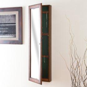 """""""Hideaway"""" Wall Mount Jewelry Mirror - Walnut"""